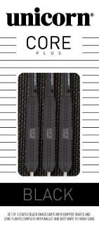 Unicorn Core Plus Black Brass Dartpijlen Kopen | Darts Warehouse