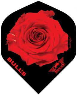 Bull's Powerflight Std. Red Rose Black | Darts Warehouse