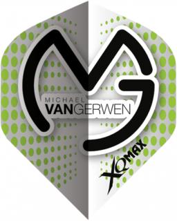 Michael van Gerwen Dartflights   White Green Dots   Darts Warehouse